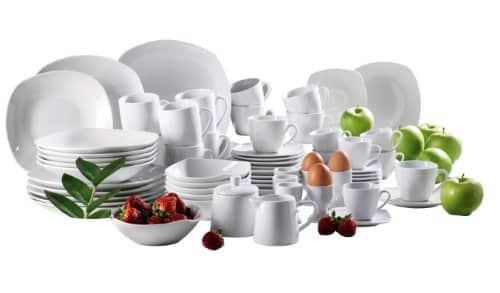 Domestic by Mäser, Serie Hannah, Starterset Kombiservice 63-teilig, ideale Komplettlösung aus weißem Porzellan