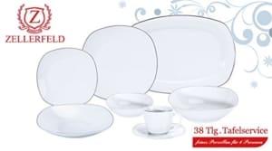 Geschirr Set oval 38-Teilig Tafelservice Essservice Kombiservice Geschirrset Kaffee Teller Set Porzellan für 6 Personen (Florene) - 2