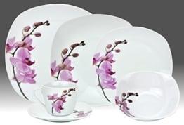 Geschirr Set Van Well Kombiservice 62tlg. Kyoto Orchidee leicht eckig Porzellan für 6 Personen weiß mit Dekor - 1