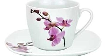Geschirr Set Kombiservice 62tlg. Kyoto Orchidee leicht eckig Porzellan für 6 Personen weiß mit Dekor - 5