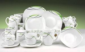 Geschirr Set Van Well Kombiservice Donna 62tlg. - weißes Porzellan mit Linien- Dekor in schwarz, grau und grün - für 6 Personen - 1