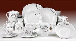 Geschirr Set Van Well Kombiservice Palazzo 62tlg. - weißes Porzellan mit Kreise- Dekor in grau und dunkelrot - für 6 Personen - 1