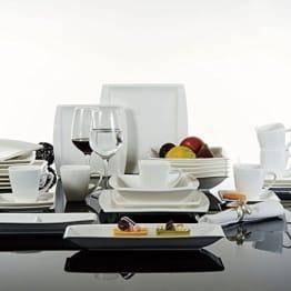 Geschirr Set Malacasa, Serie Blance, 32-teilig Kombiservice Porzellan Eckig Geschirrset in Klassischem Design mit je 6 Kaffeetassen 180ml, 6 Untertassen, 6 Dessertteller, 6 Tiefteller, 6 Flachteller, 1 Rechteckige Platte und 1 2-Speisefächer - 1