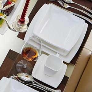 quadratisches geschirr set Malacasa, Serie Blance, 32-teilig Kombiservice Porzellan Eckig Geschirrset in Klassischem Design mit je 6 Kaffeetassen 180ml, 6 Untertassen, 6 Dessertteller, 6 Tiefteller, 6 Flachteller, 1 Rechteckige Platte und 1 2-Speisefächer - 7