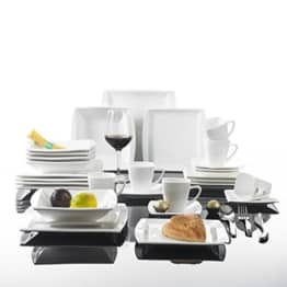 Geschirr Set Malacasa, Serie Blance, Kombiservice 30 tlg. Porzellan Geschirrset Eckig Tafelservice mit je 6 Kaffeetassen 180 ml, 6 Untertassen, 6 Dessertteller, 6 Tiefteller und 6 Flachteller CREMEWEIß - 1