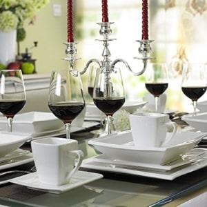 quadratisches geschirr set Malacasa, Serie Blance, Kombiservice 30 tlg. Porzellan Geschirrset Eckig Tafelservice mit je 6 Kaffeetassen 180 ml, 6 Untertassen, 6 Dessertteller, 6 Tiefteller und 6 Flachteller CREMEWEIß - 4