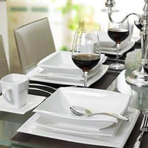 Geschirr Set eckig Malacasa, Serie Blance, Kombiservice 30 tlg. Porzellan Geschirrset Eckig Tafelservice mit je 6 Kaffeetassen 180 ml, 6 Untertassen, 6 Dessertteller, 6 Tiefteller und 6 Flachteller CREMEWEIß - 7