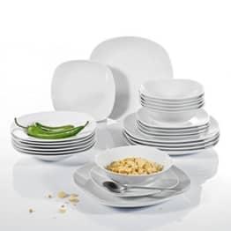 Geschirr Set Malacasa, Serie Elisa, 24 teilig Set Cremeweiß Porzellan Tafelservice Kombiservice Geschirrset mit je 6 Speiseteller, 6 Dessertteller, 6 Suppenteller, 6 Schüsseln für 6 Personen - 1