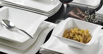 Geschirr Set 12 Personen Malacasa, Serie Flora, 26 tlg. Cremeweiß Porzellan Geschirrset Kombiservice Tafelservice im klassischen Design mit je 6 Schalen, 6 Dessertteller, 6 Suppenteller, 6 Speiseteller und 2 Rechteckigen Platten - 3