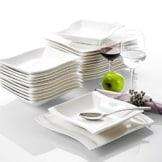 geschirr set 12 personen Malacasa, Serie Flora, Cremeweiß Porzellan Tafelservice 24 Teiligen Set Kombiservice Geschirrset mit je 12 Speiseteller und 12 Suppenteller für 12 Personen - 1