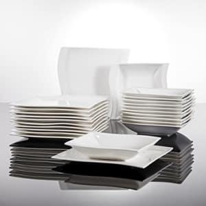 Geschirr Set eckig Malacasa, Serie Flora, Cremeweiß Porzellan Tafelservice 24 Teiligen Set Kombiservice Geschirrset mit je 12 Speiseteller und 12 Suppenteller für 12 Personen - 3