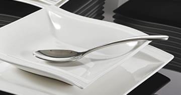 Geschirrset 12 Personen Malacasa, Serie Flora, Cremeweiß Porzellan Tafelservice 24 Teiligen Set Kombiservice Geschirrset mit je 12 Speiseteller und 12 Suppenteller für 12 Personen - 5
