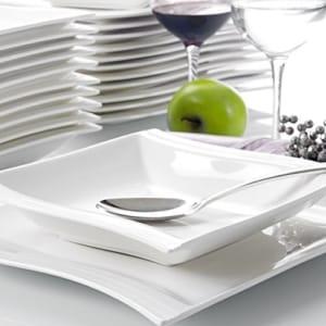 Geschirr Set weiß Malacasa, Serie Flora, Cremeweiß Porzellan Tafelservice 24 Teiligen Set Kombiservice Geschirrset mit je 12 Speiseteller und 12 Suppenteller für 12 Personen - 7