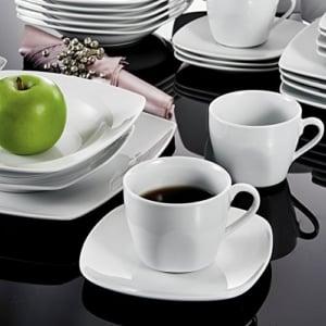 Geschirr Set 124 teilig Malacasa, Serie Julia, KLEIN Tafelservice 60-teilig Kombiservice Kaffeeservice Porzellan Geschirrset mit je 12 Kaffeetassen, 12 Untertassen, 12 Dessertteller, 12 Suppenteller und 12 Speiseteller für 12 Person - 4