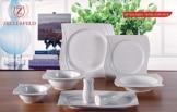Geschirr Set Premium 28-Teilig Tafelservice Porzellan Set Service für 6 Personen Geschirr in weiß - 1