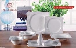 Geschirr Set 6 Personen Premium 28-Teilig Tafelservice Porzellan Set Service für 6 Personen Geschirr in weiß - 1
