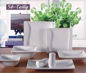 Zellerfeld Geschirr Set Premium 56-Teilig Tafelservice Porzellan Set Service für 12 Personen Geschirr in weiß - 1