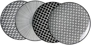 Geschirr Set rund Ritzenhoff & Breker Dessertteller-Set Takeo, 4-teilig, 21,5 cm Durchmesser, Porzellangeschirr, Schwarz-Weiß - 1