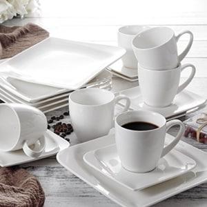 Geschirr Set Vancasso Cloris 30-teilig Porzellan Tafelservice Weiß, Eckiges Geschirrset, mit je 6 Kaffeetassen, Untertassen, Dessertteller, Essteller und Suppenteller - 7