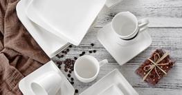 Geschirr Set 30 teilig Vancasso Cloris 30-teilig Porzellan Tafelservice Weiß, Eckiges Geschirrset, mit je 6 Kaffeetassen, Untertassen, Dessertteller, Essteller und Suppenteller - 8