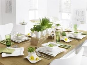 New Wave Geschirr Set Villeroy & Boch NewWave Frühstücksteller Quadrat / Flacher Teller in gewellter Form aus Porzellan in Weiß / 1 x (24 x 24cm) - 2